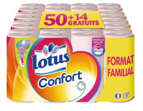Lot de 64 rouleaux de papier toilette Lotus Confort Rise