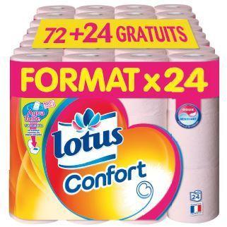 Lot de 96 rouleaux de Papier Lotus Confort