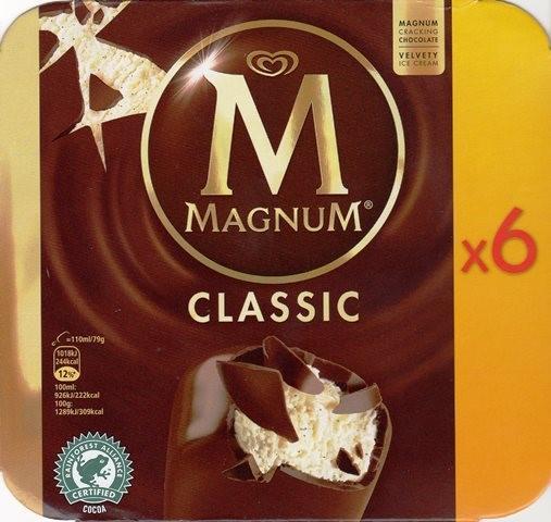 Boite de 6 glaces Magnum - Classic, Blanc ou Amandes