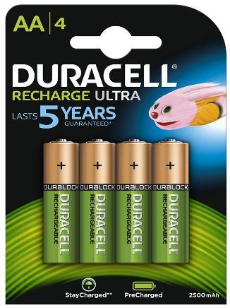 [Panier Plus] Lot de 4 Piles Rechargeables Duracell AA - 2500mAh