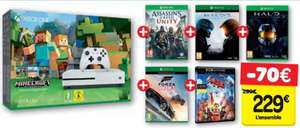 Pack console Xbox One S (500 Go) + Assassin's Creed Unity + Forza Horizon 3 + Halo 5: Guardians + Halo: The Master Chief Collection + Minecraft + film 4K La Grande Aventure Lego (dématérialisés)