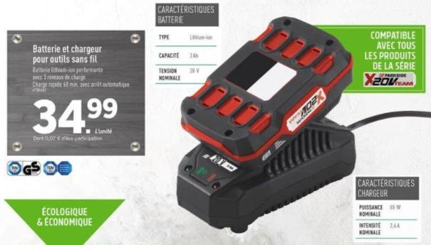 Batterie Lithium-ion pour tous vos appareils d'outillage Parkside