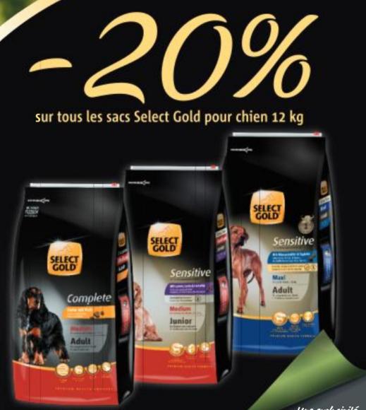20% de réduction sur tous les sacs de croquettes pour chien Select Gold 12kg