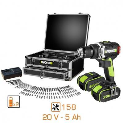 Perceuse visseuse Worx brushless WU175.1 ( 20v / 2x5ah ) + 158 accessoires