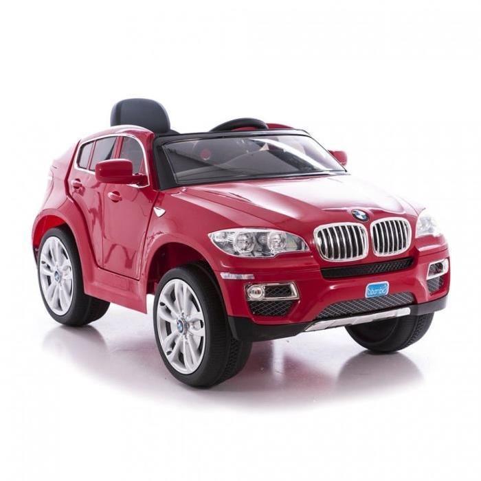 Voiture Électrique BMW X6 V - 12v - Enfant - Rouge + Pack 5 Mini Poupées La reine des neige offert (valeur 50€)