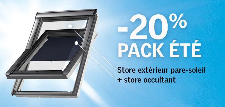 20% de réduction sur le pack été Velux (store occultant + store extérieur pare-soleil)