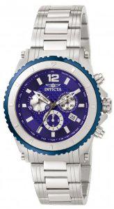 Invicta Montre Homme Quartz Chronographe Cadran Bleu Bracelet Acier Argent