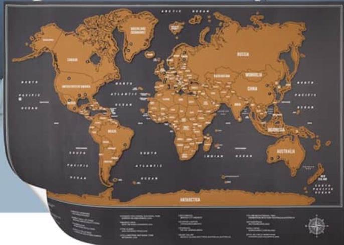 Carte du monde à gratter ou ardoise - 82,5x59,5 cm
