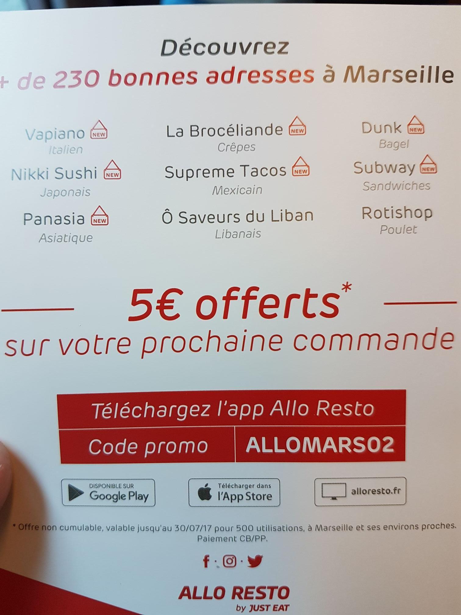 5€ de réduction sur votre prochaine commande sur Marseille et alentours proches