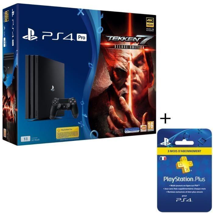 Console Sony PS4 Pro Noire - 1To + Tekken 7 Deluxe Edition + Abonnement PlayStation Plus de 3 mois