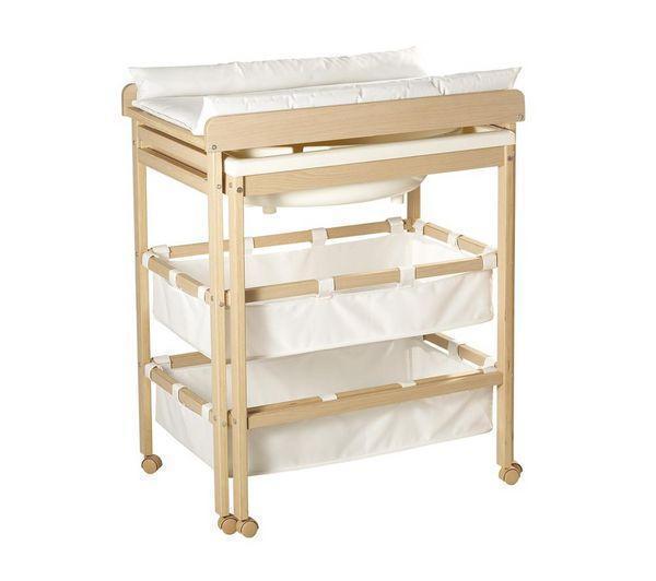 Table à langer Roba en bois coulissante - Baignoire intégrée