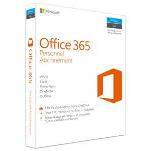 Microsoft Office 365 Personnel - (1 an/1 PC ou MAC, 1 Tablette, 1 Téléphone)