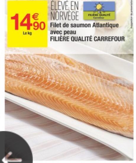 Filet de saumon de l'Atlantique avec peau (origine Norvège) - le kg
