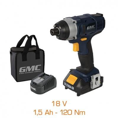 Visseuse à chocs GMC 18V - 1 bat Li-Ion 1,5Ah, 120 Nm, mallette de transport & chargeur