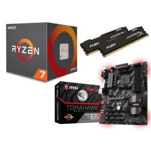 Kit Evo Processeur AMD Ryzen 7 1700 (3,7GHz Turbo) + Carte-mère MSI B350 Tomahawk + RAM DDR4 HyperX Fury 16Go