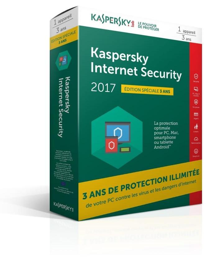 Logiciel Kaspersky Internet Security 2017 (1 poste/3 ans)