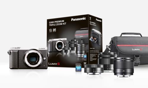 Appareil photo hybride Panasonic Lumix DMC-GX80 + 3 objectifs (12-32 mm, 35-100 mm et 25 mm F1.7) + Carte mémoire SDHC Lexar Premium 8 Go