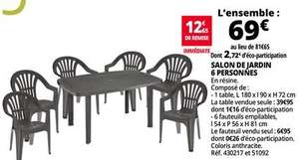 Salon de jardin table + 6 Fauteuils - 6 personnes