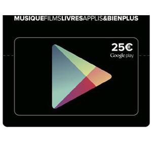 Carte prépayée Google Play d'une valeur de 25€