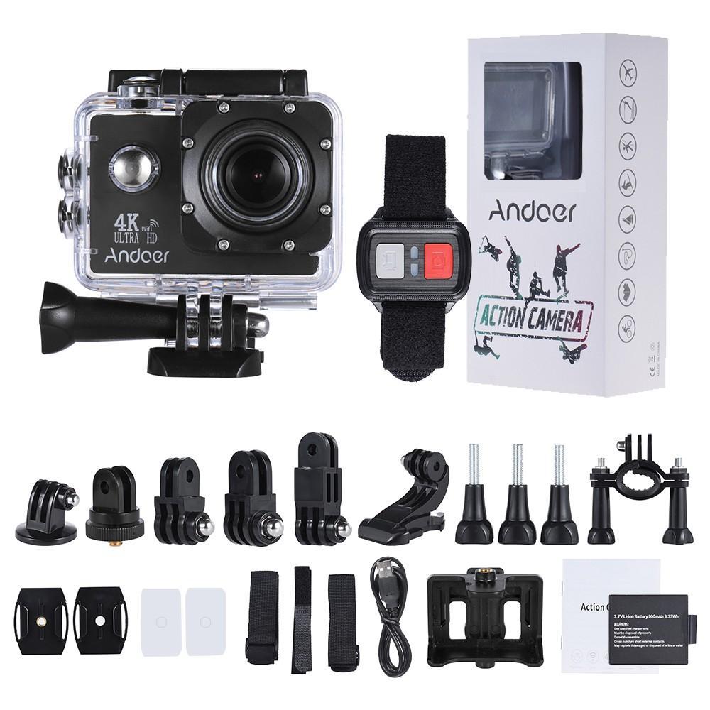 """Caméra sportive Andoer AN4000 - Sony IMX179, Ecran 2"""", 16MP, 4K 30fps / 1080p 60fps, Allwinner V3, WiFi (Plusieurs coloris) + Accessoires"""