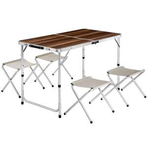 Ensemble table pliante + 4 tabourets TecTake