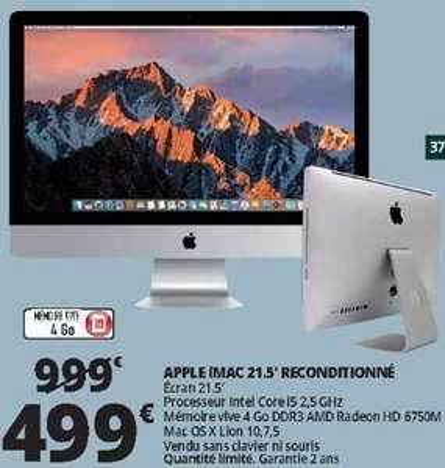 """Ordinateur tout-en-un 21.5"""" Apple iMac - i5, 4 Go de RAM, Radeon 6750M, X Lion - reconditionné"""