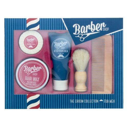 Coffret Barbershop avec  baume apres-rasage, cire pour les cheveux, savon de rasage, blaireau et peigne a barbe