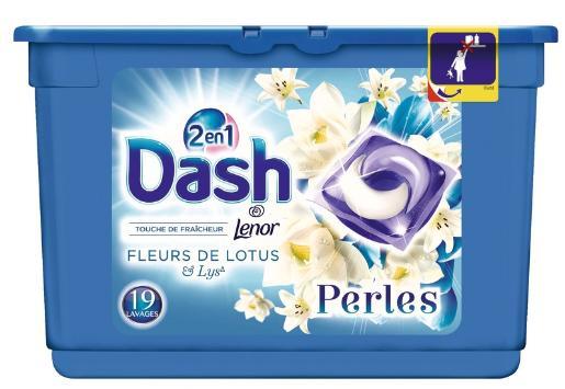 Lessive 2-en-1 Lenor Dash Ecodoses Perles (Parfums au choix) - 19 Lavages (via BDR + Quoty)