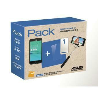 Pack Fnac Smartphone Asus ZenFone Go Double SIM 16 Go + Perche Selfie + Coque + Verre Trempé