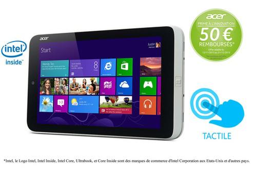 """Tablette Tactile Acer W3-810 8"""" 32 Go + 50€ de Carte cadeau Amazon (Avec ODR de 50€)"""