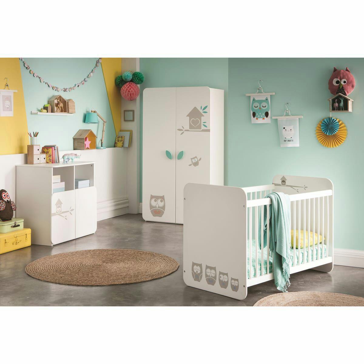 Ensemble Lit bébé à barreaux 60 x120 cm + commode à langer HOUHOU (armoire non incluse)