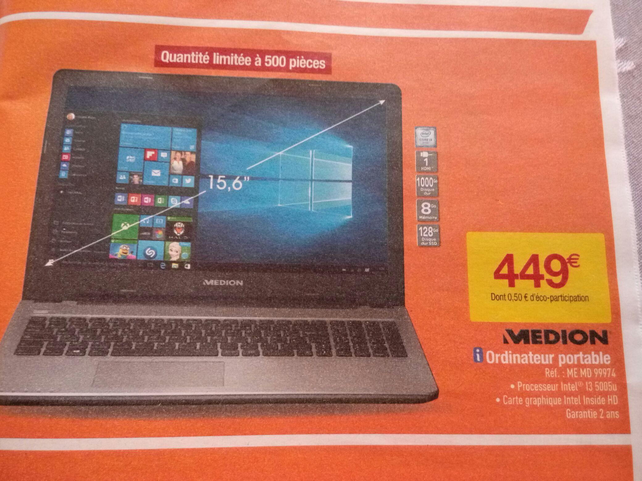 """PC Portable 15.6"""" Medion ME MD 99974 - i3-5005U, 8go de Ram, 1 To + 128 Go SSD"""