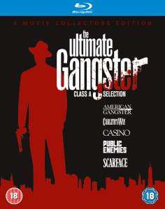 Coffret 5 Blu-rays The Ultimate Gangster : L'Impasse, Casino, Public Enemies, American Gangster, Scarface