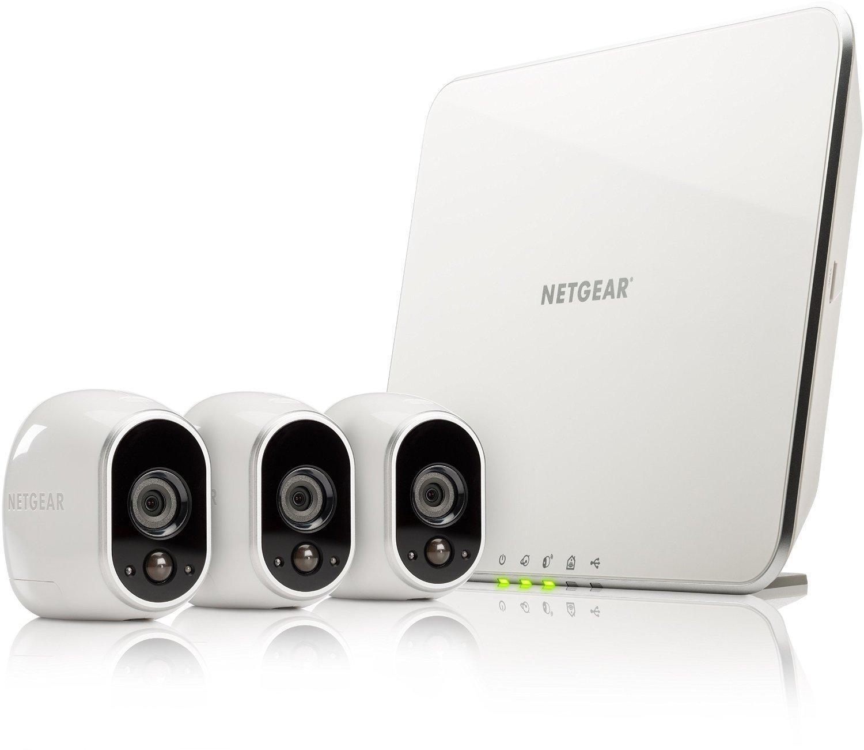 Kit de Surveillance 100% sans Fil Arlo Netgear Smart Caméra VMS3330-100EUS, 3 Caméras HD Incluses, Vision Nocturne