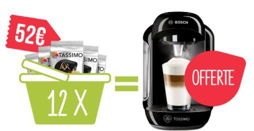 1 machine à café Tassimo Vivy Jaune Modèle T12 offerte pour l'achat de 12 paquets de capsules