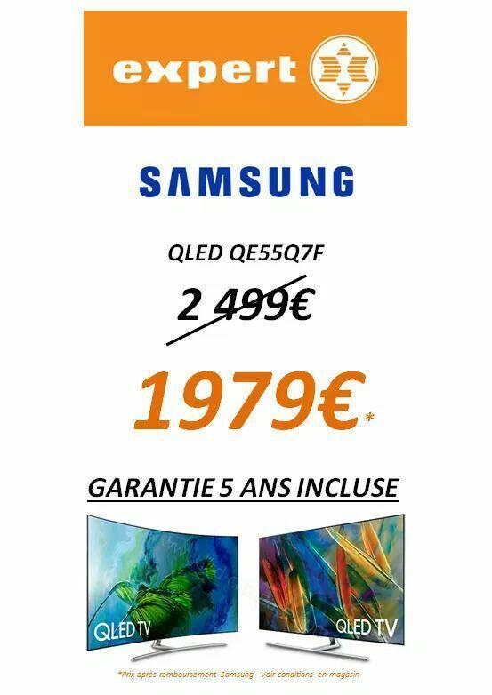 """TV 55"""" Samsung QLED 4K HDR 10 bits QE55Q7F - QLED + extension de garantie de 5 ans (via ODR 500€)"""