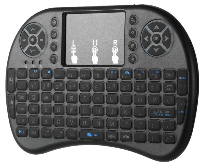 Mini clavier rétro-éclairé sans fil, Touchpad, 2 piles AAA non incluses (QWERTY)