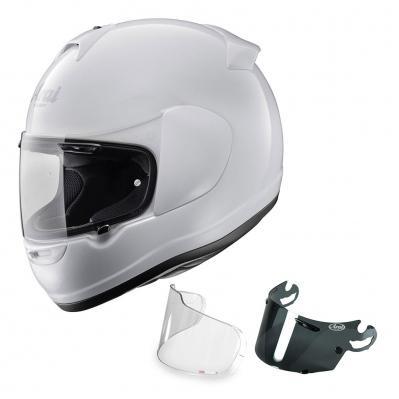 Casque de moto intégral Arai Axces II (blanc, du M au XL) + visière fumée + visière pinlock