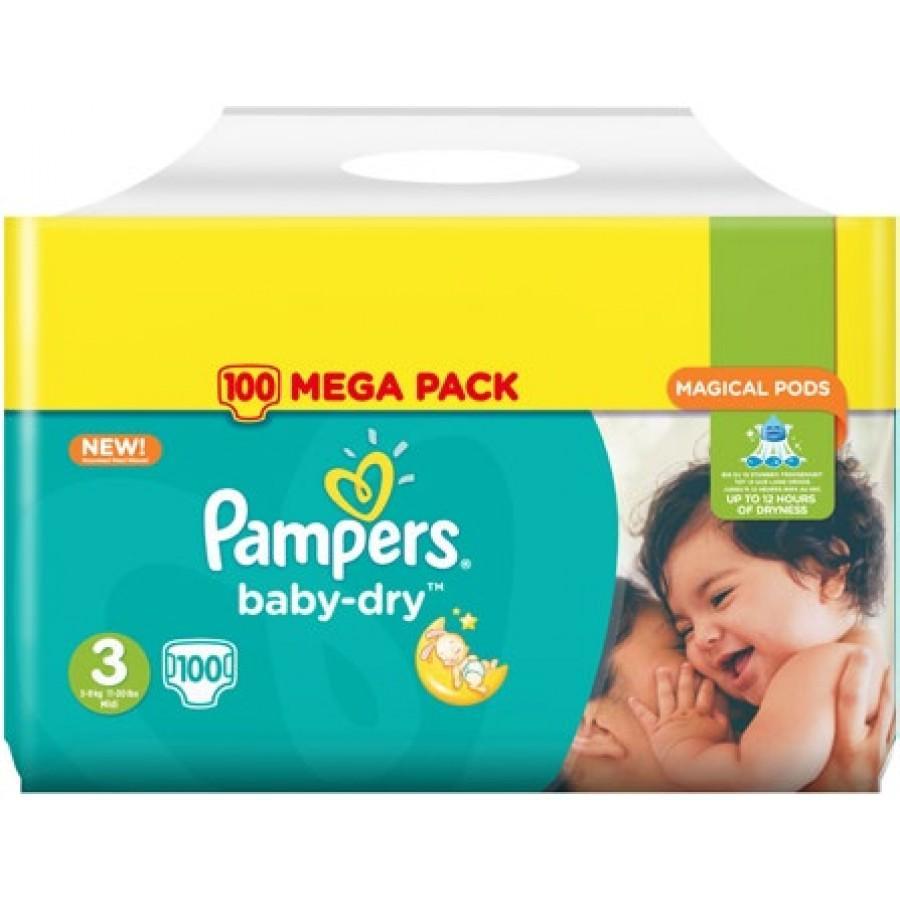Mega Pack de couches Pampers Baby Dry - Tailles au choix (via Carte de fidélité + BDR)