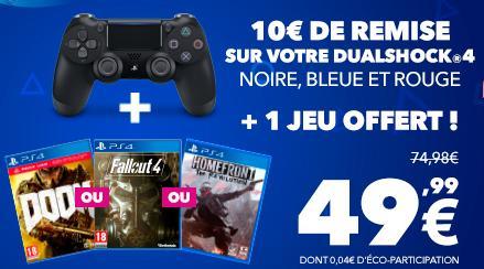 Manette DualShock 4 pour PS4 (Coloris au choix) - Bluetooth + 1 Jeu PS4  au choix parmi une sélection (Doom, Fallout 4 ou Homefront : The Revolution)