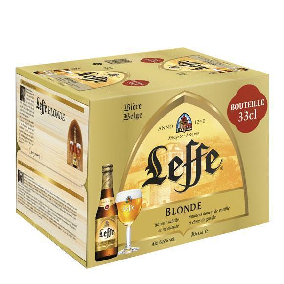 Pack de 20 bières blondes Leffe - 33 cl (via 8.95€ sur la carte de fidélité)
