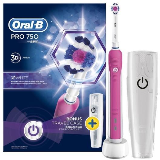 Brosse à dents électrique Oral-B PRO 750 3D White + Etui de Voyage (via ODR 20€ + Carte de fidélité)