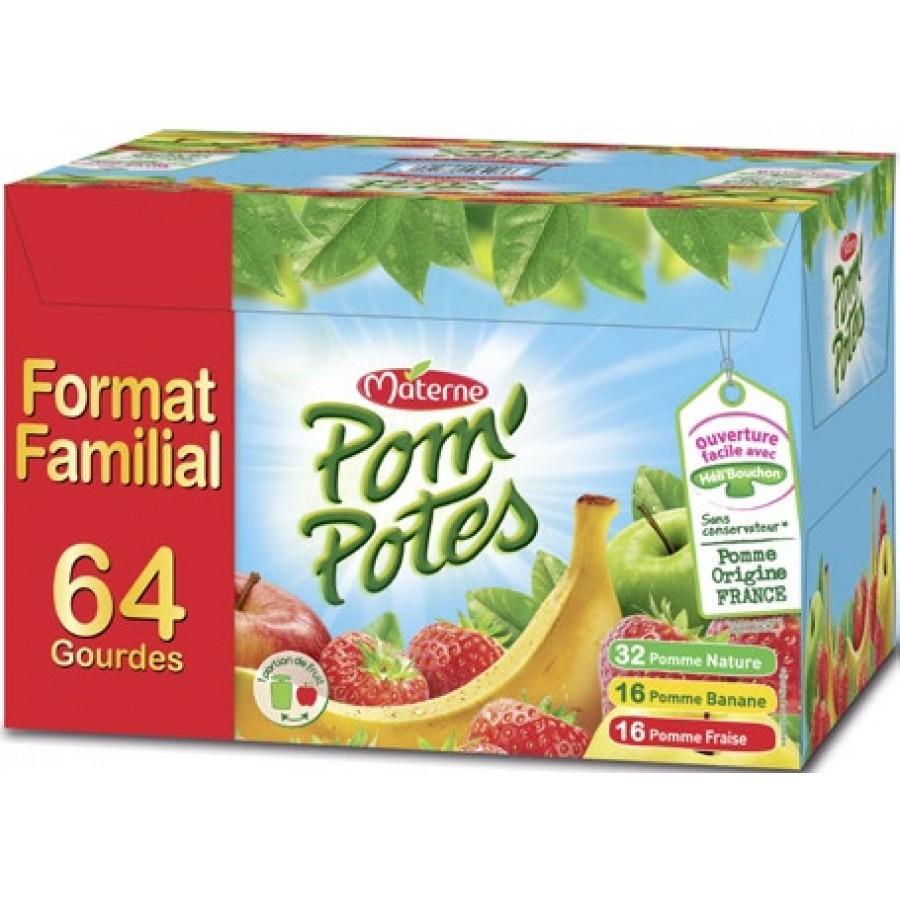 Pack de 64 gourdes Materne Pom'potes - 64 x 90g (via 10.95 € sur la carte de fidélité)