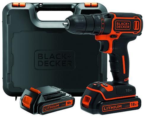 Coffret Perceuse-visseuse Sans-fil Black & Decker BDCDC18KB-QW - 18 V + 2 Batteries + Chargeur
