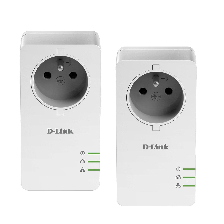 Pack de 2 adaptateurs CPL D-Link DHP-P601AV/FR - 1000 Mbps (Port Gigabit) avec prise intégrée