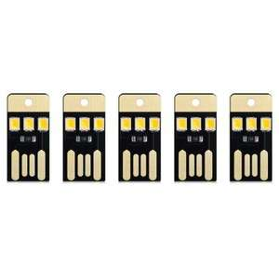 Lot de 5 Mini Lampes LED USB - Blanc froid ou chaud