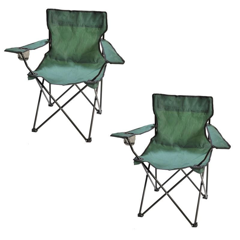 Lot de 2 fauteuils de camping pliables - verts