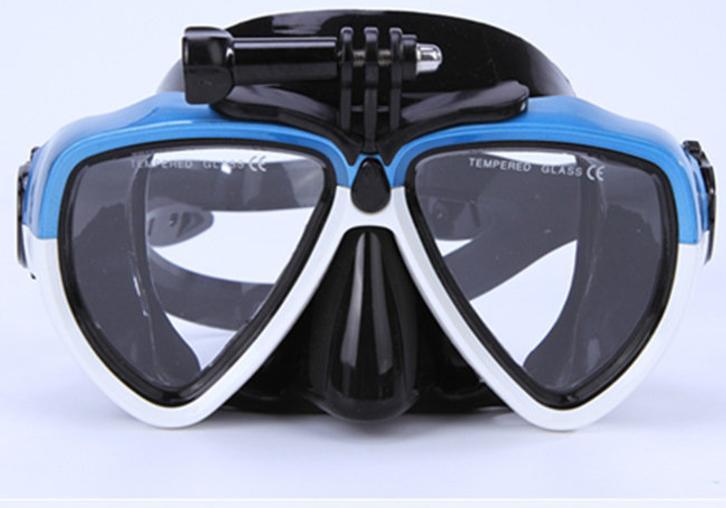 Lunettes de plongée avec support de caméra sportive bleu, rose ou blanc