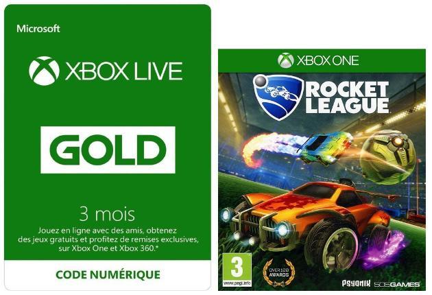 Abonnement Xbox Live Gold (Code) - 3 Mois + Rocket League sur Xbox One (Dématérialisé)