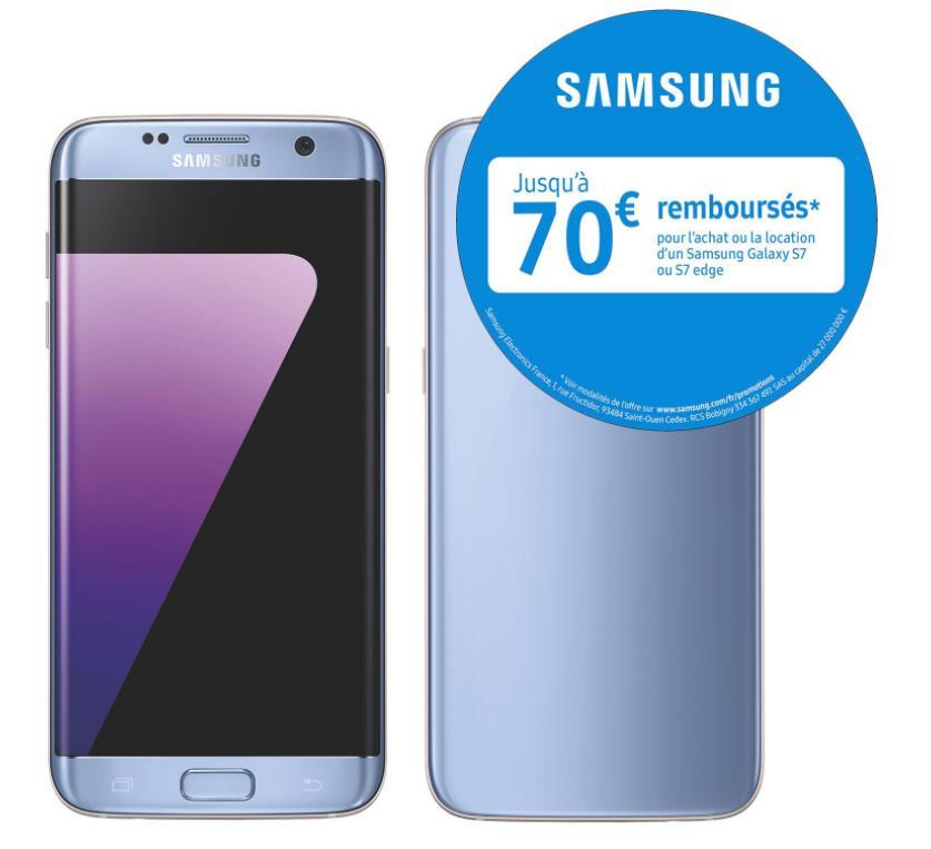 """Smartphone 5.5"""" Samsung Galaxy S7 Edge Bleu - 32 Go (via ODR 70€)"""